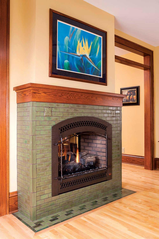 fireplace tile arts crafts hawthorn pesto corner