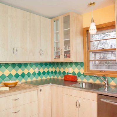 Green Yellow Mid Century Modern Kitchen Tile On Point