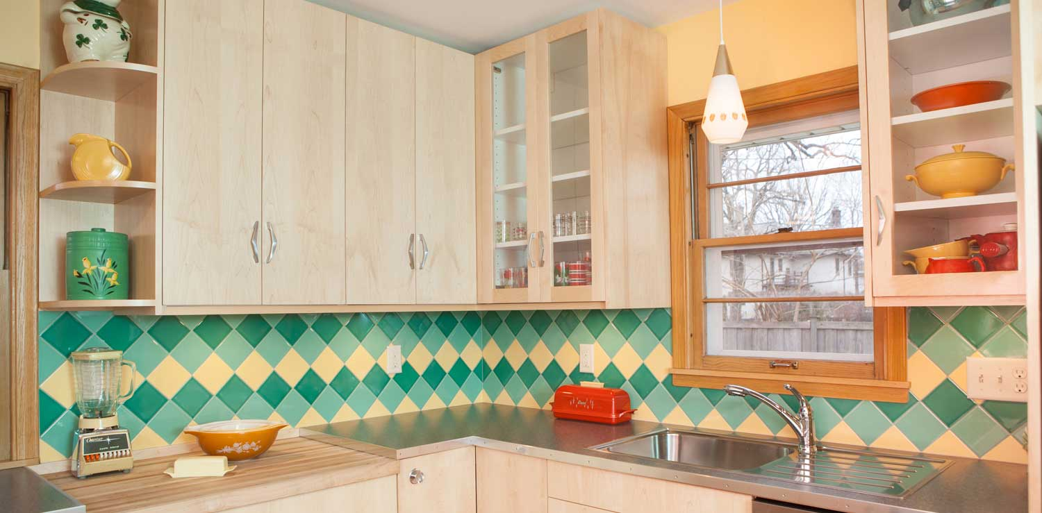 Green Yellow Mid Century Modern Kitchen Tile On Point Hero