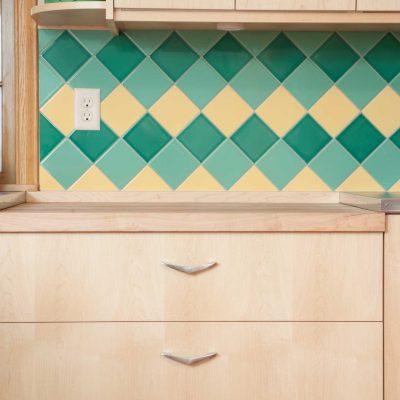 Green Yellow Mid Century Modern Kitchen Tile On Point Pattern