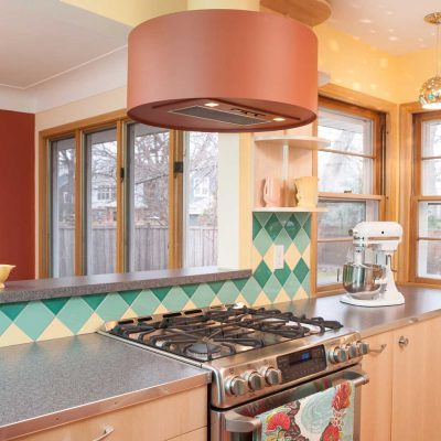 Green Yellow Mid Century Modern Kitchen Tile On Point Stove Perspective