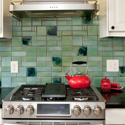 Green Kitchen Tile Backsplash Aquila Pattern