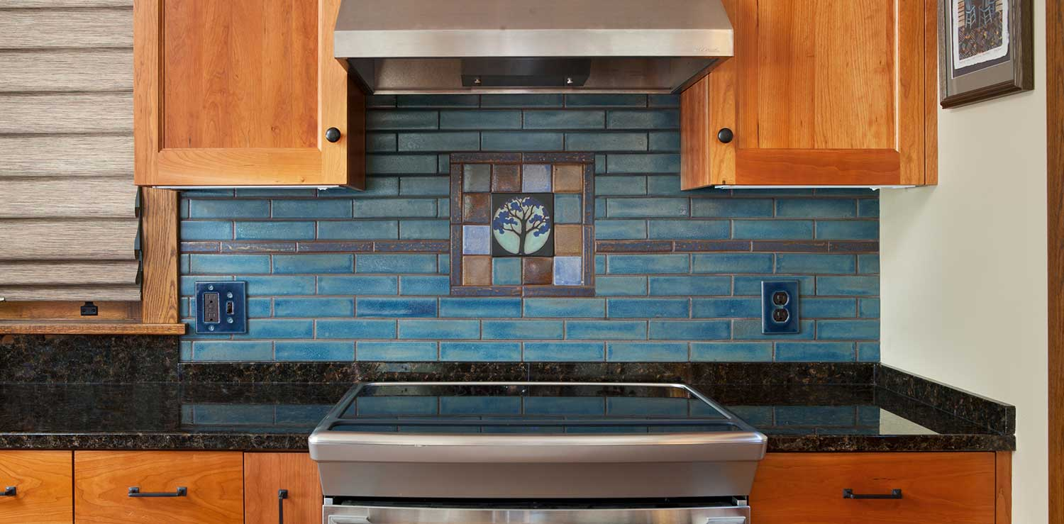 - Arts & Crafts Tile Mural Behind Stove - Clay Squared To Infinity