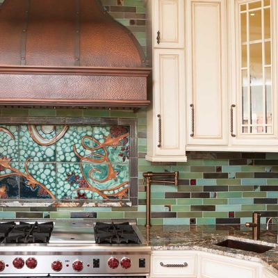 kitchen tile backsplash cosmic mural