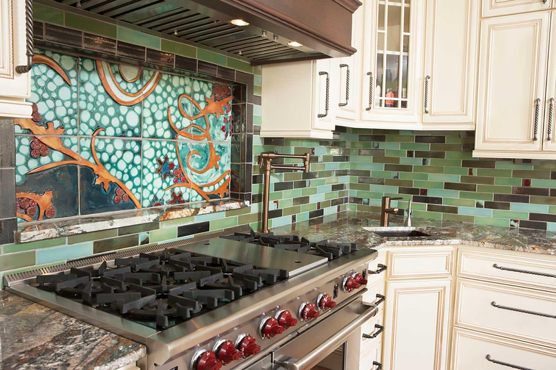 kitchen tile backsplash cosmic mural perspective