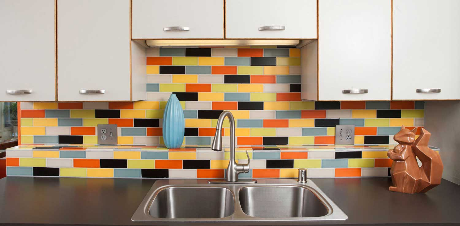 Multi Color Mid Century Modern Kitchen Tile Backsplash Atomic Hero H