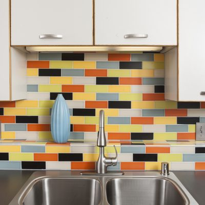 Multi Color Mid Century Modern Kitchen Tile Sink