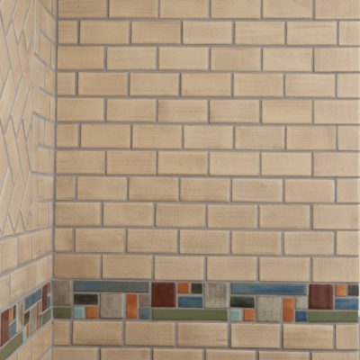 Oatmeal Modern Kitchen Tile Border Boadway Large Corner Wall