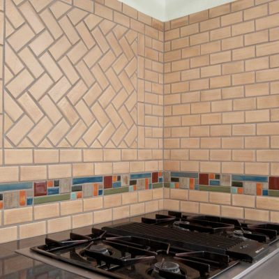 Oatmeal Modern Kitchen Tile Border Herringbone Boadway Hero