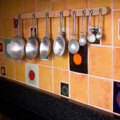 Orange Contemporary Cosmic Spot Kitchen Tile Backsplash Measturing Spoons Zenith Full Room