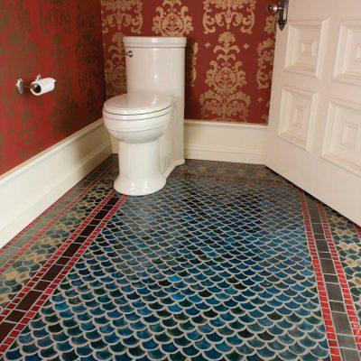 bathroom floor tile peacock detail