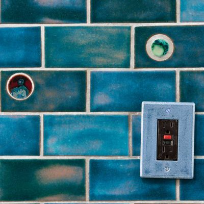 bathroom subway tile blue gem detail