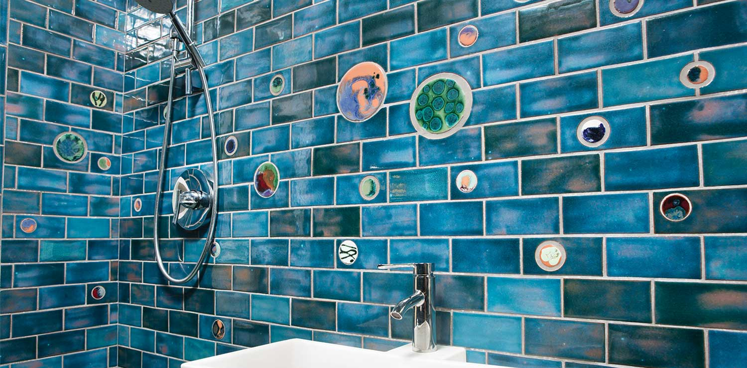 bathroom subway tile little blue gem