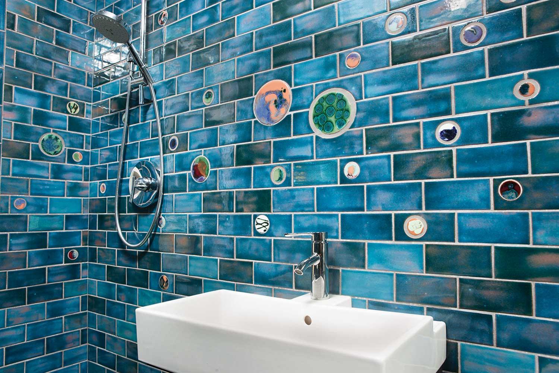 bathroom subway tile little blue gem
