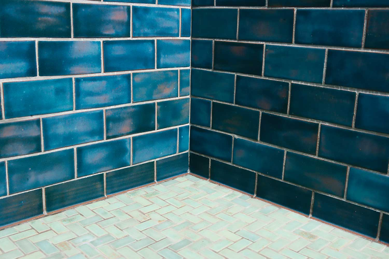 Little Blue Gem Tile Bathroom Classic Running Bond With