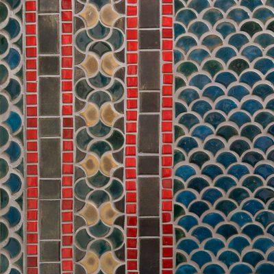 Blue Italian Bathroom Floor Tile The Peacock Border Pattern