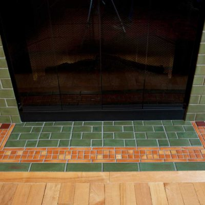 Pesto Green Arts And Crafts Fireplace Tile Davenport Hearth