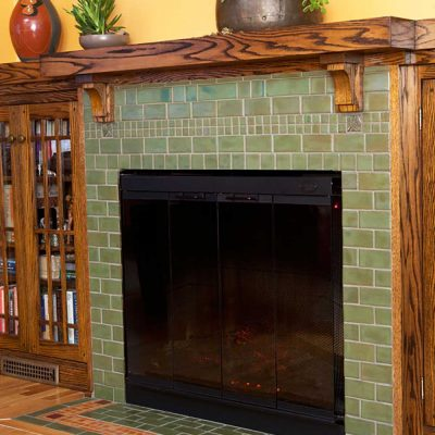 pesto green tile fireplace belmont perspective