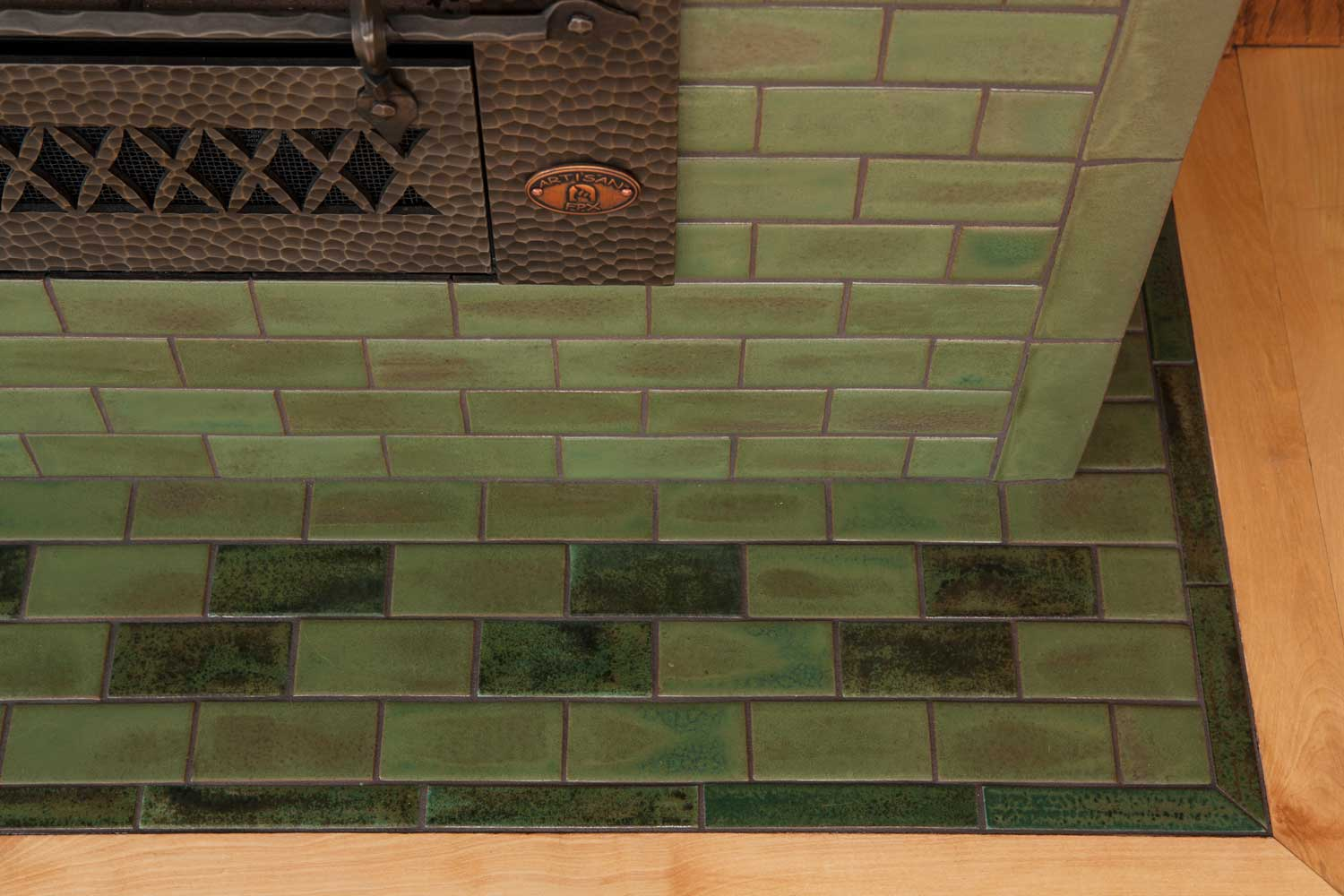 The Hawthorn In Pesto Arts Amp Crafts Tile Fireplace
