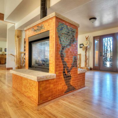 Orange Modern Tile Fireplace Colorado Tree Mural Full Room