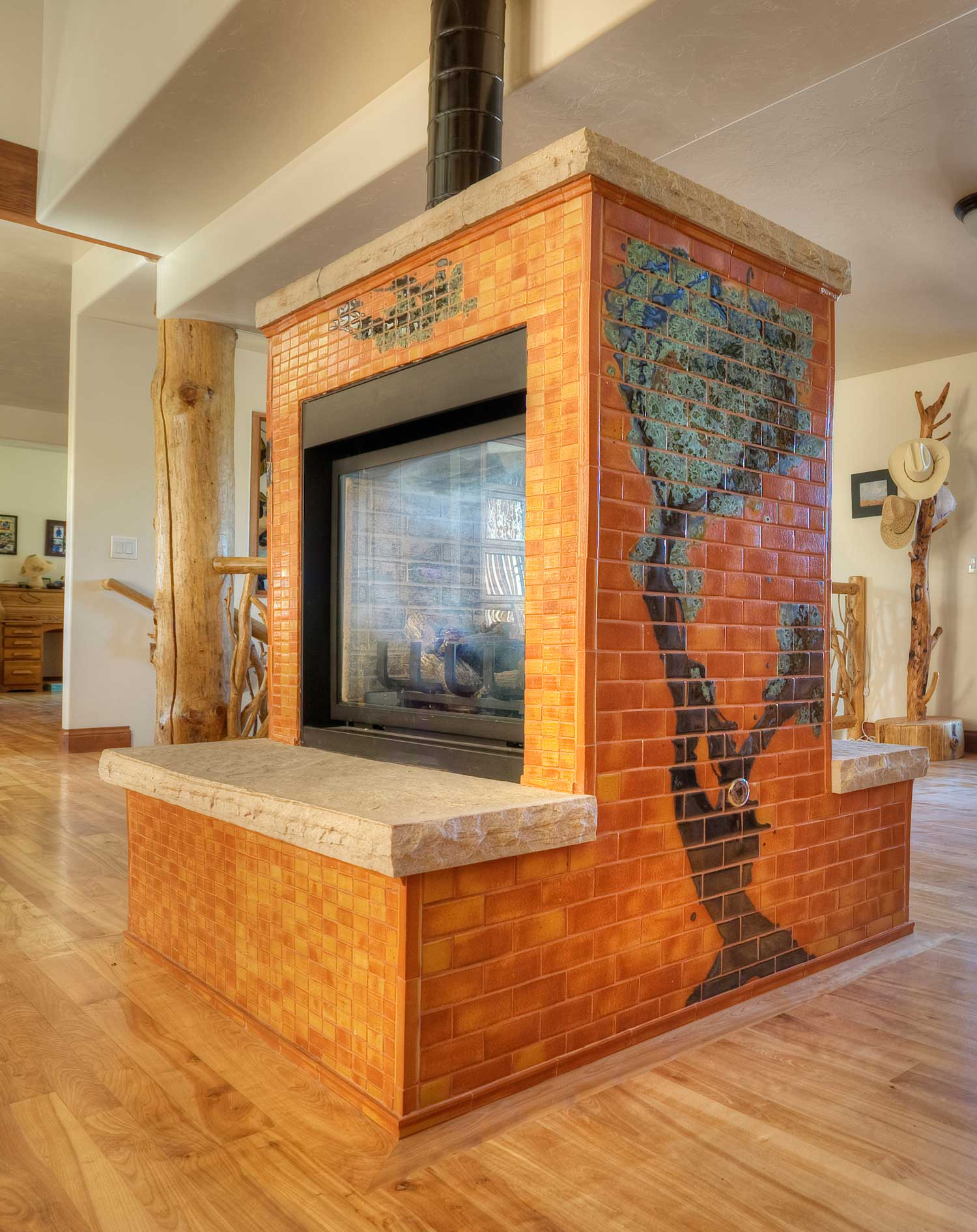 Orange Modern Tile Fireplace Colorado Tree Mural Hero