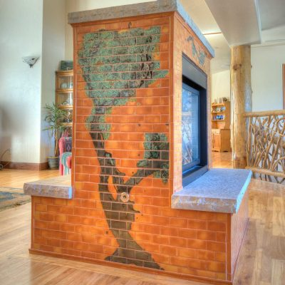 Orange Modern Tile Fireplace Colorado Tree Mural Perspecitve