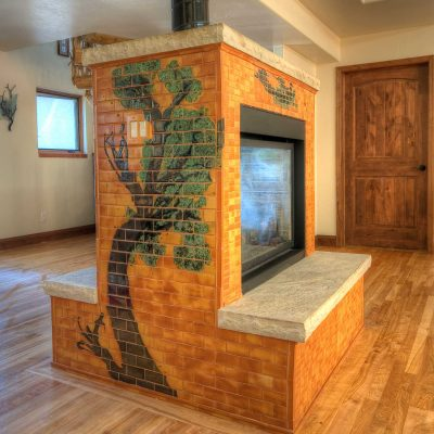 Orange Modern Tile Fireplace Colorado Tree Mural Perspecitve Accent