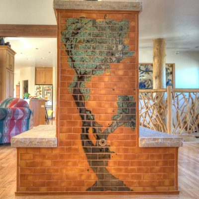 Orange Modern Tile Fireplace Colorado Tree Mural Straight