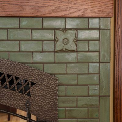 Pesto Green Arts And Crafts Fireplace Tile Hawthorn Accent