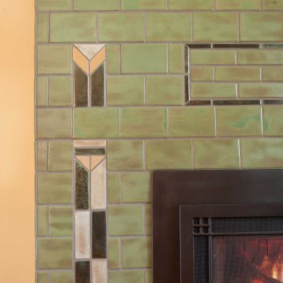 Pesto Green Arts And Crafts Fireplace Tile Prairie Accent