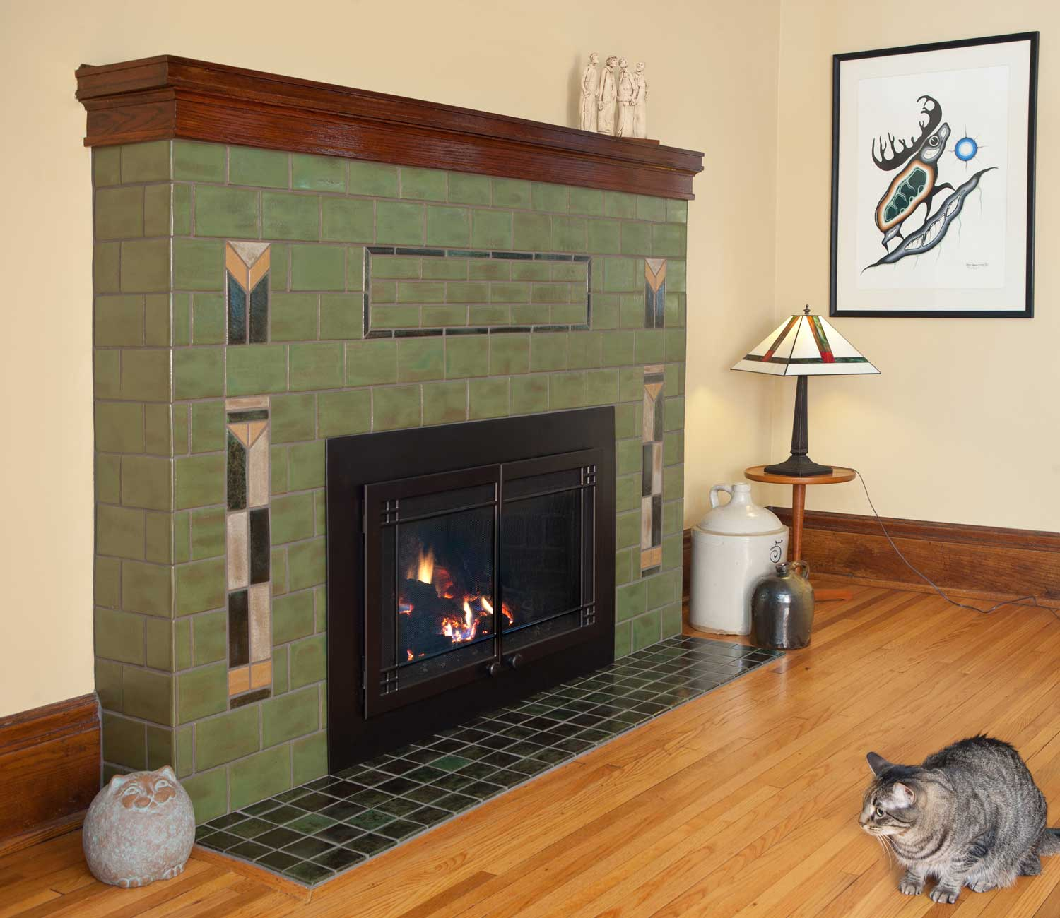 Pesto Green Arts And Crafts Fireplace Tile Prairie Cat Hero