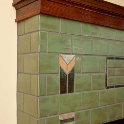 Pesto Green Arts And Crafts Fireplace Tile Prairie Corner Accent