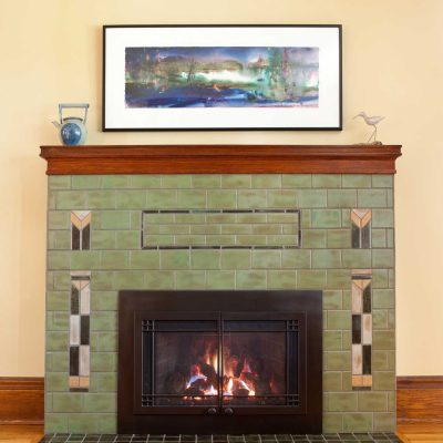 Pesto Green Arts And Crafts Fireplace Tile Prairie Straight On