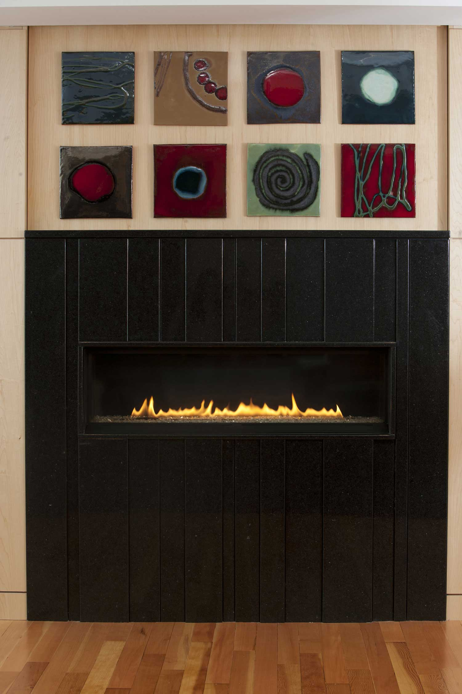 Red Contemporary Tile Fireplace Bliss Hero