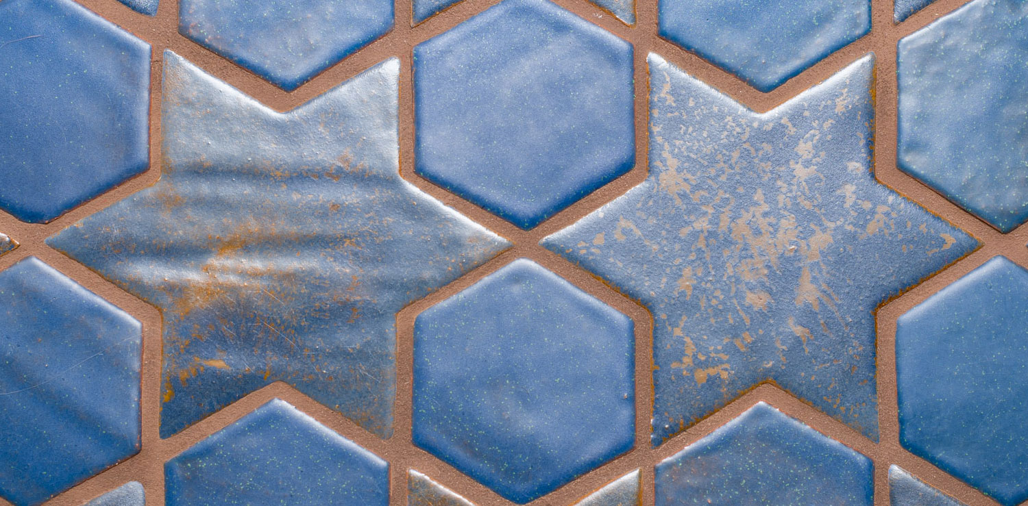 Blue Spanish Mission Floor Tile Star Hex Pattern