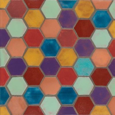 Hexagon Mid Century Multi Color Shape Tile