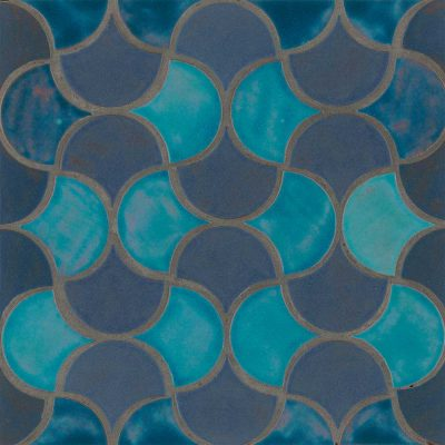 Peacock In Out Two Color Pattern Shape Tile