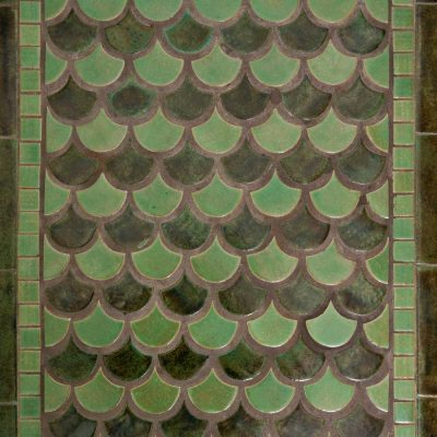 Green Arts And Crafts Bathroom Floor Tile Peacock Rug Pattern