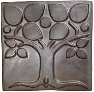 Stone Hollow Tile Abstract Tree Metalic 6 Inch