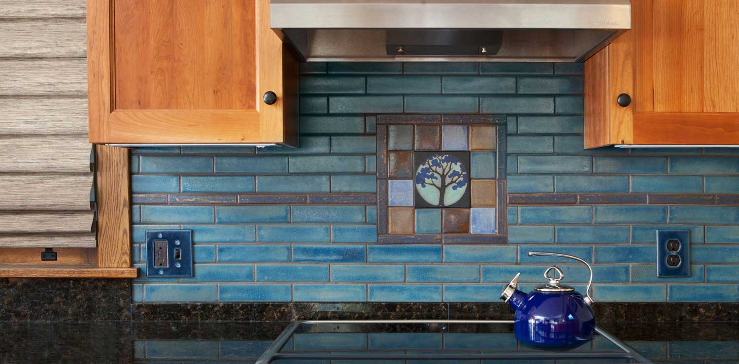 Stone Hollow Tile Circle Painted Tree Black Blue Kitchen Hero