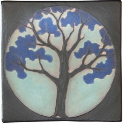 Stone Hollow Tile Circle Painted Tree Black Blue Series