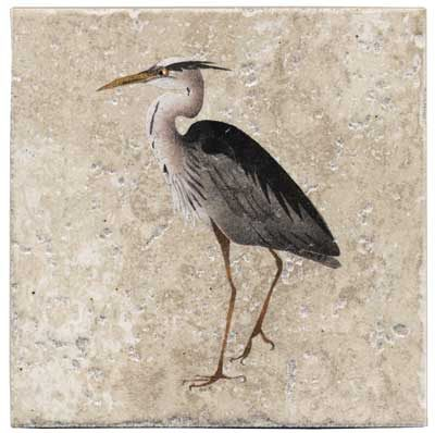 Stephanie Blue Heron 6 Inch Tile