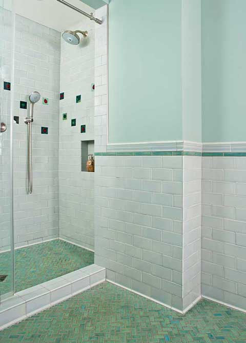 Mixing historic and handmade tile for a Mid Century look
