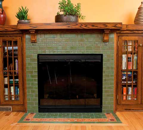 The Davenport fireplace with bordered hearth