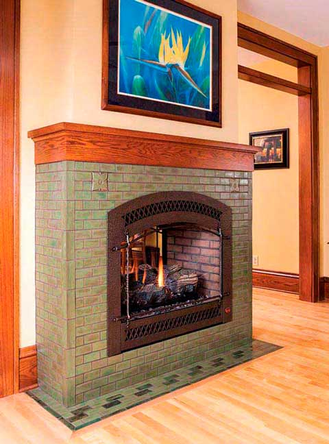 The Hawthorn fireplace in Pesto