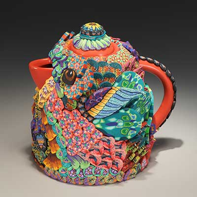 Red Round Bird Teapot