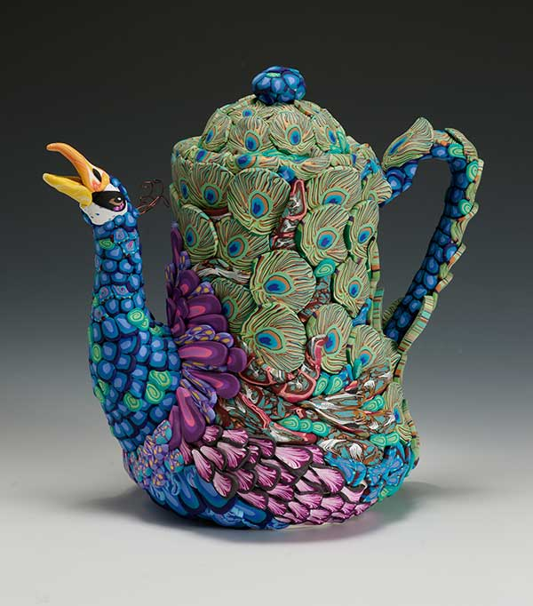 Peacock Teapot To Left