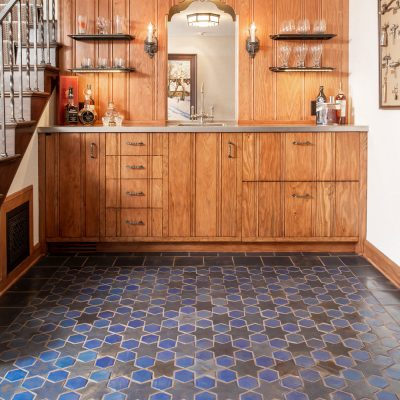 Blue Spanish Mission Floor Tile Star Hex Bar Staight