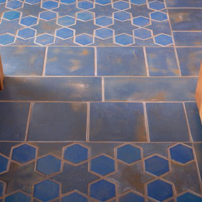 Blue Spanish Mission Floor Tile Star Hex Threshold