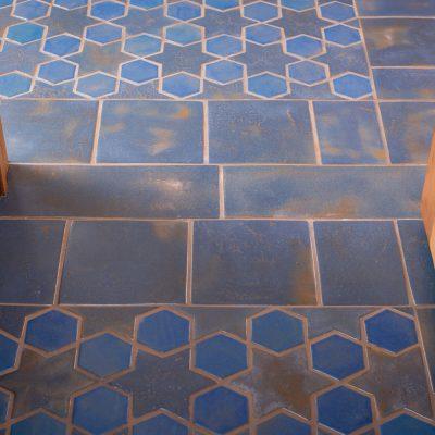 Blue Spanish Mission Floor Tile Star Hex Threshold
